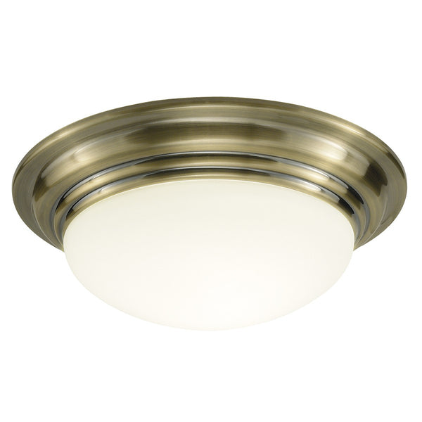 BARCLAY Large IP44 Flush - Antique Brass