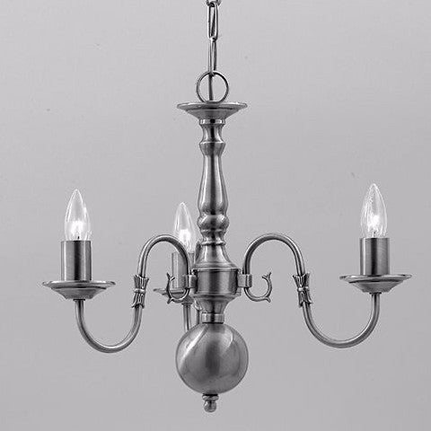 FLEMISH 3 Light Chandelier - Pewter
