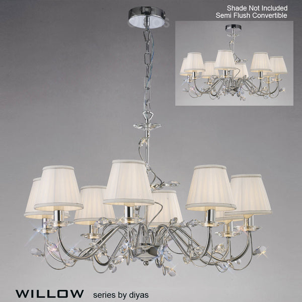 WILLOW 8 Light Pendant - Polished Chrome
