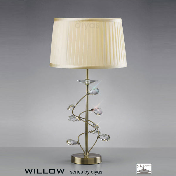 WILLOW 1 Light Table Lamp - Antique Brass