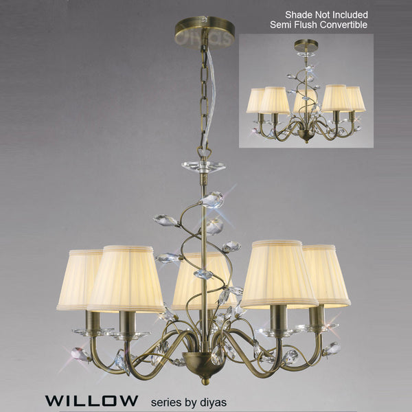 WILLOW 5 Light Pendant - Antique Brass