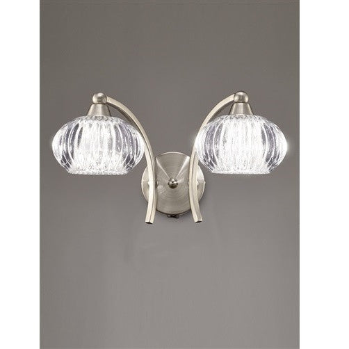 RIPPLE Double Wall Light - Satin Nickel