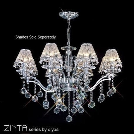 ZINTA 8 Light Chandelier - Chrome