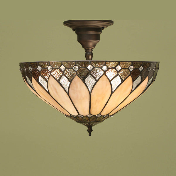 BROOKLYN Art Deco 3 Light Semi Flush - Brass