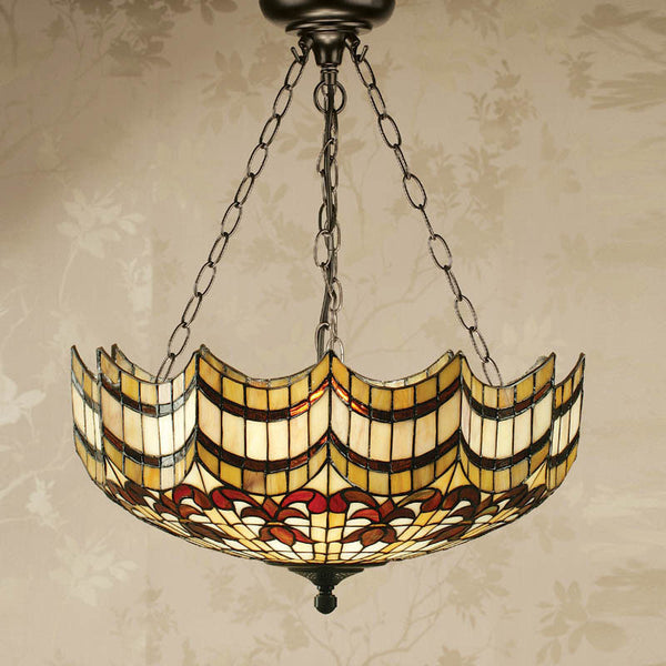 VESTA Tiffany Inverted 3 Light Pendant