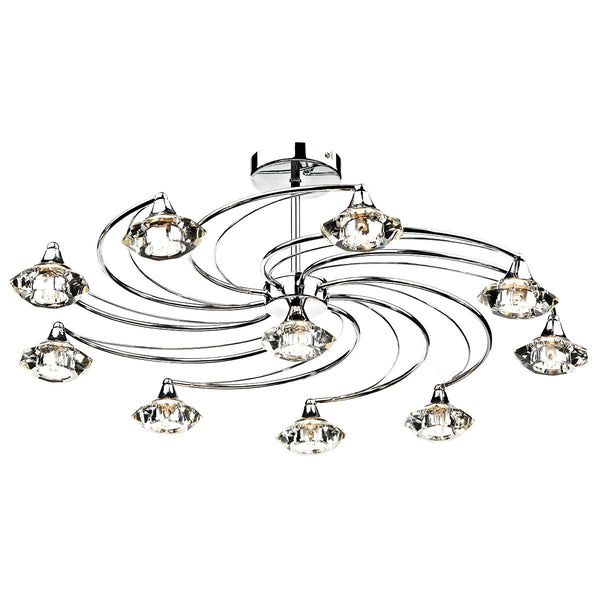 LUTHER 10 Light Semi Flush in Polished Chrome