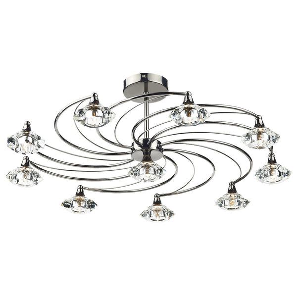 LUTHER 10 Light Semi Flush in Black Chrome