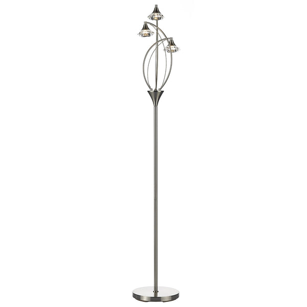 LUTHER Floor Lamp in Satin Chrome