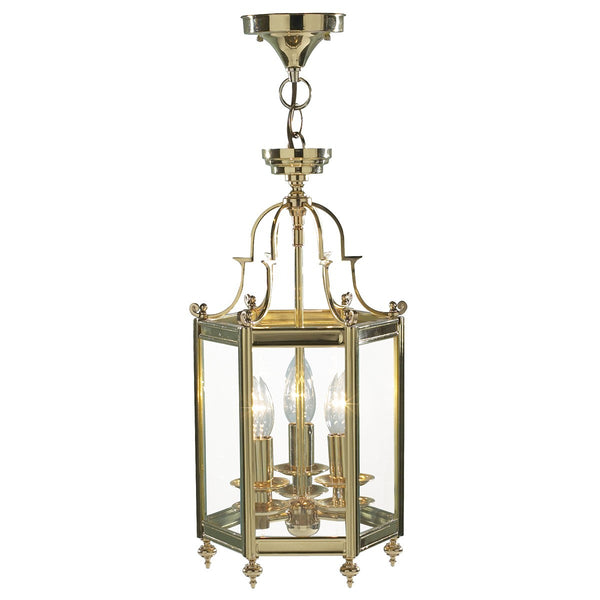 MOORGATE 3 Light Cast Brass Lantern in Polished