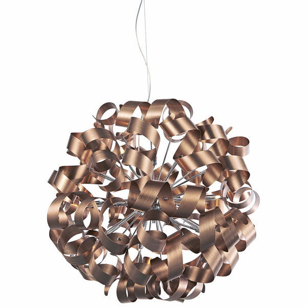 RAWLEY 12 Light Ribbon Pendant in Brushed Copper