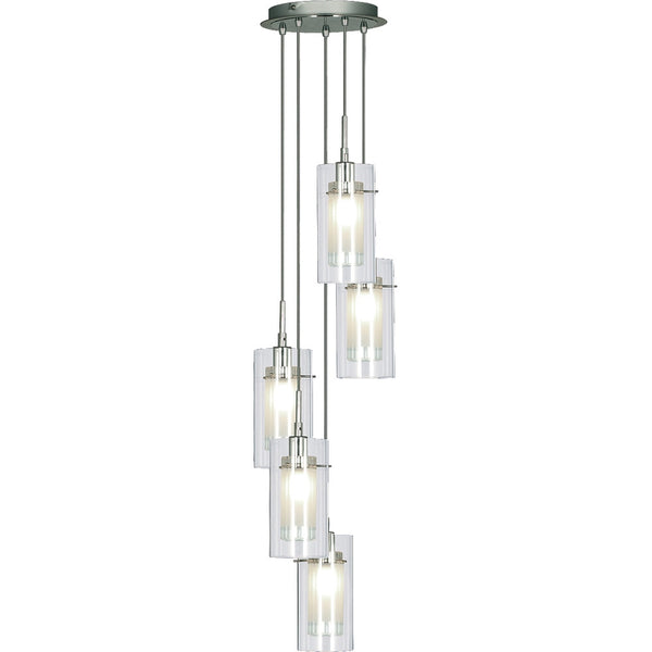 DUO 5 Light Spiral Pendant - Clear