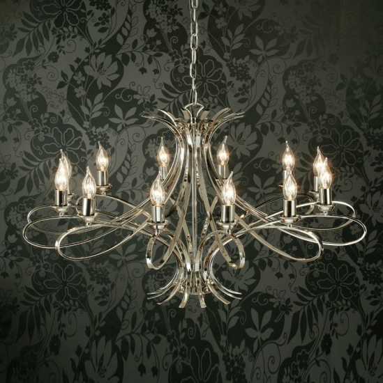 PENN 12 Light Chandelier in Polished Nickel
