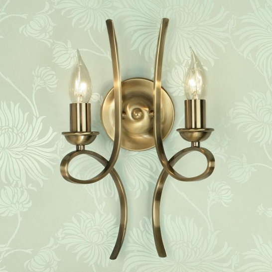 PENN Double Wall Light in Brushed Brass