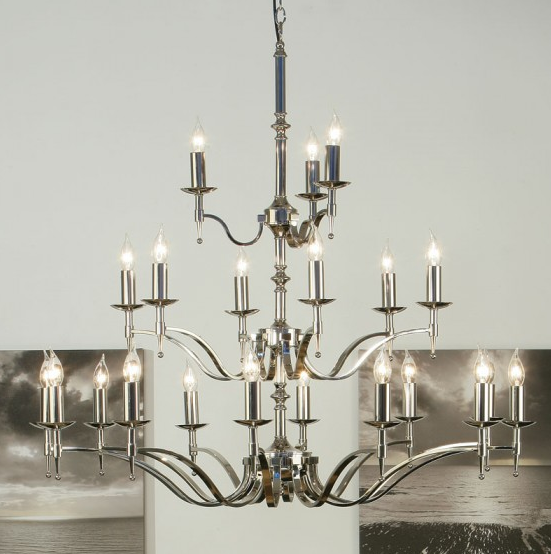 STANFORD 21 Light Chandelier in Polished Nickel