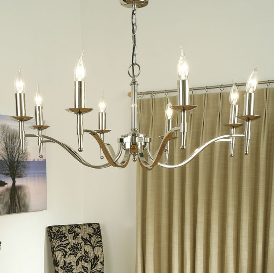 STANFORD 8 Light Chandelier in Polished Nickel