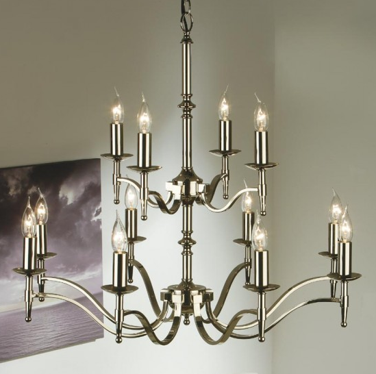 STANFORD 12 Light Chandelier in Polished Nickel