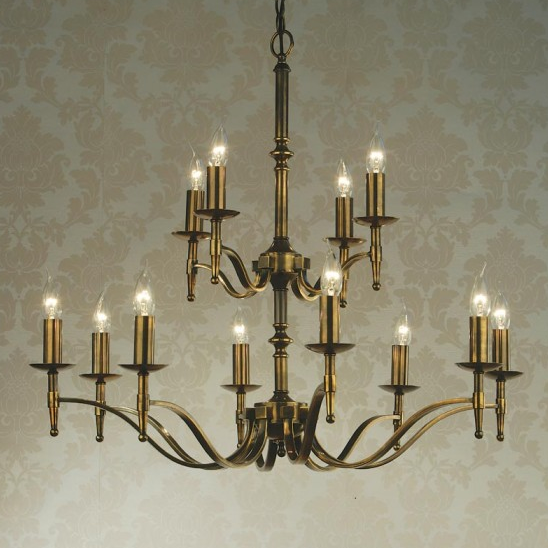 STANFORD 12 Light Chandelier in Antique Brass