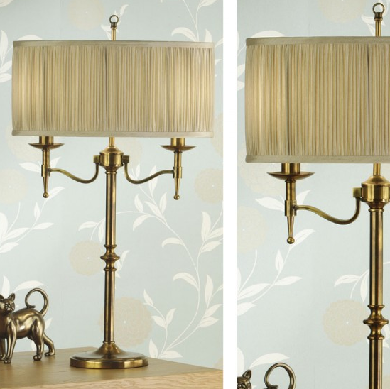 STANFORD Table Lamp in Antique Brass & Cream