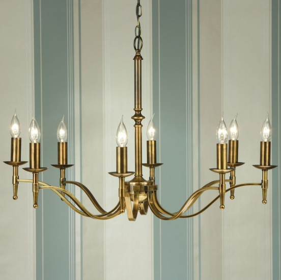 STANFORD 8 Light Chandelier in Antique Brass