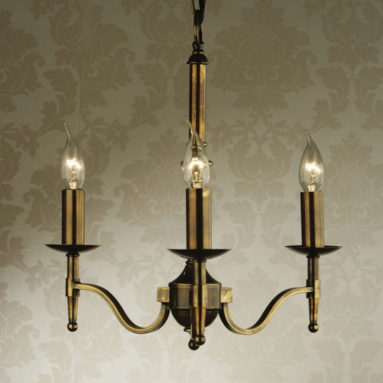 STANFORD 3 Light Chandelier in Antique Brass