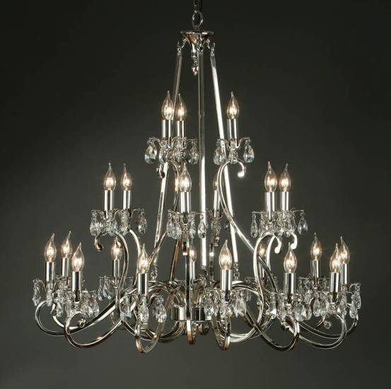 OKSANA 21 Light Chandelier in Nickel