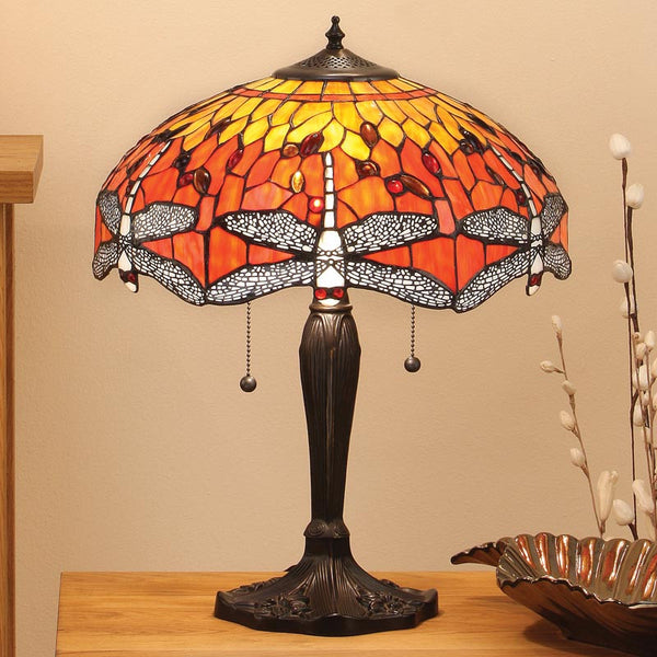 FLAME DRAGONFLY Tiffany Medium 2 Light Table Lamp