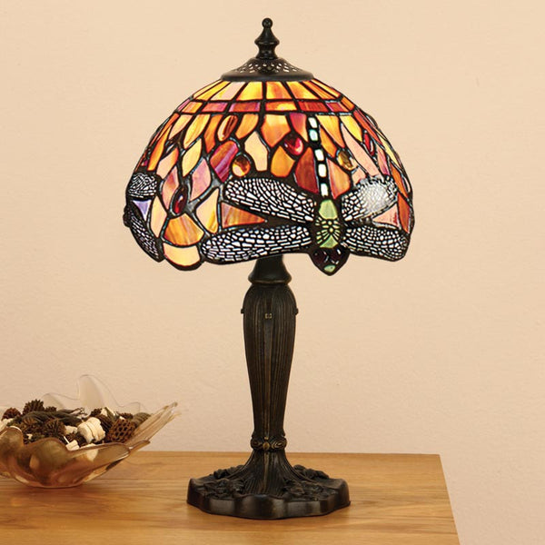 FLAME DRAGONFLY Tiffany Mini 1 Light Table Lamp