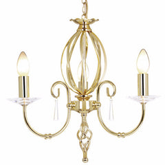 AEGEAN 3 Light Chandelier in Polished Brass
