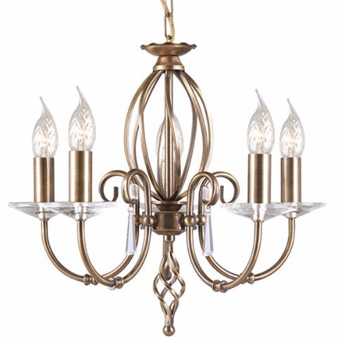AEGEAN 5 Light Chandelier in Aged Brass