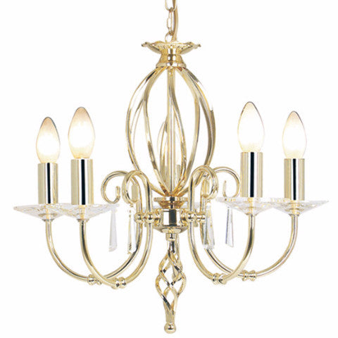 AEGEAN 5 Light Chandelier in Polished Brass
