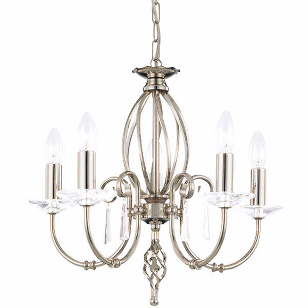 AEGEAN 5 Light Chandelier in Polished Nickel