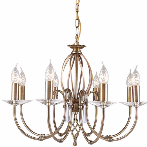 AEGEAN 8 Light Chandelier in Aged Brass