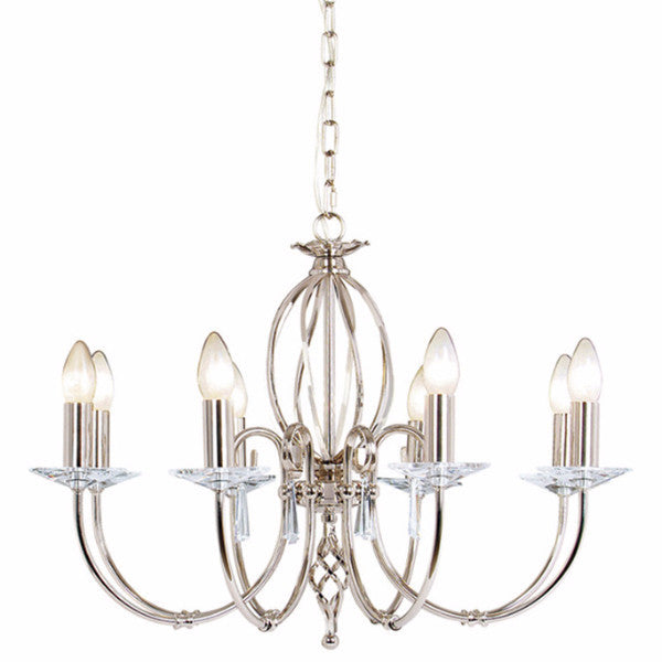 AEGEAN 8 Light Chandelier in Polished Nickel