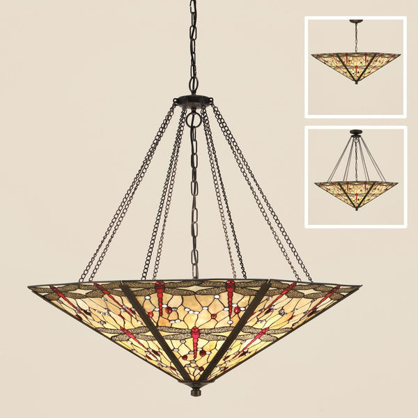 BEIGE DRAGONFLY 8 LightMega Tiffany Pendant