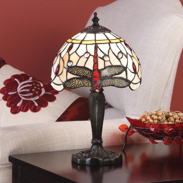 BEIGE DRAGONFLY Small Tiffany Table Lamp