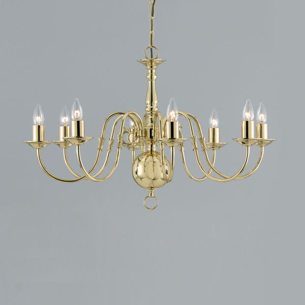 FLEMISH 8 Light Chandelier - Polished Brass