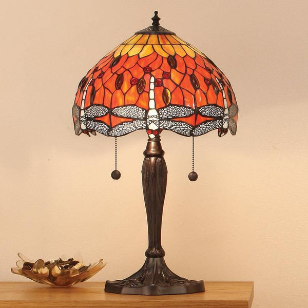 FLAME DRAGONFLY Tiffany Small 2 Light Table Lamp