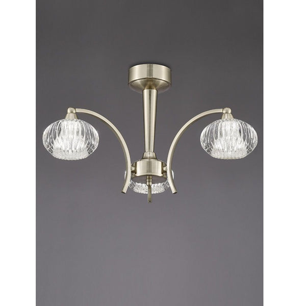 RIPPLE 3 Light Centre - Satin Nickel