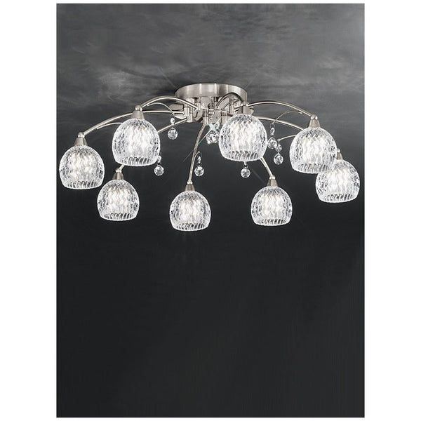 JURA 8 Light Semi Flush - Satin Nickel
