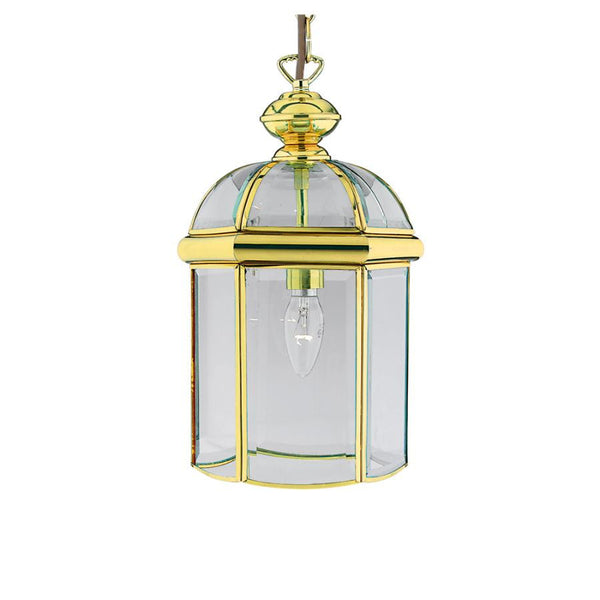 BEVELLED Glass Lantern - Small in Brass