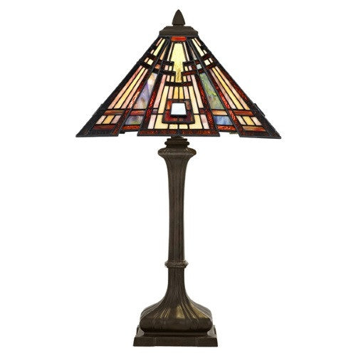 CLASSIC CRAFTSMAN 2 Light Tiffany Table Lamp