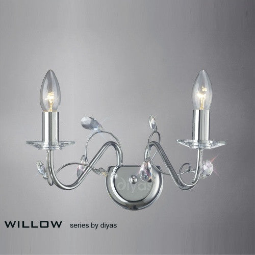 WILLOW 2 Light Wall Light - Polished Chrome