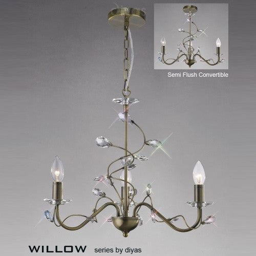 WILLOW 3 Light Pendant - Antique Brass