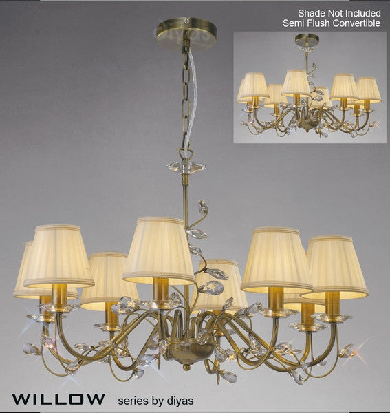 WILLOW 8 Light Pendant - Antique Brass