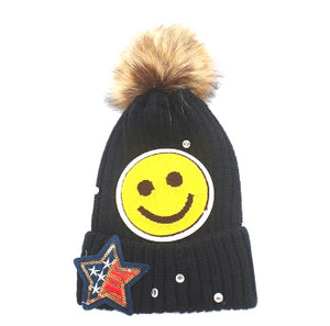 Smiley Face Sequin Pom Pom Beanie