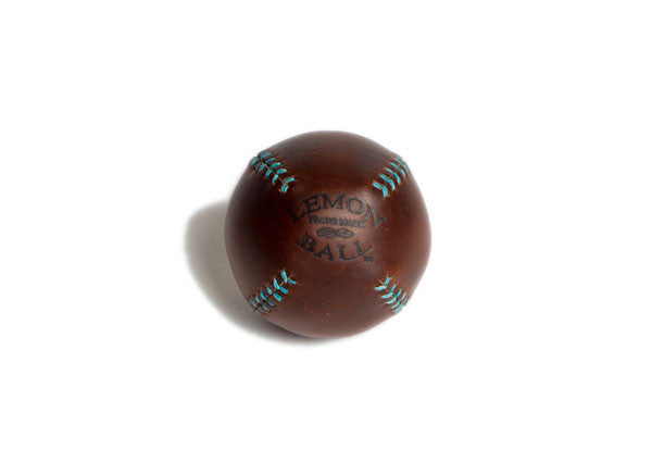 Leather Head Sports Lemon Ball - Brown with Turquoise Stitch