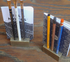 Tumbled Brass Pencil & Notebook Stand