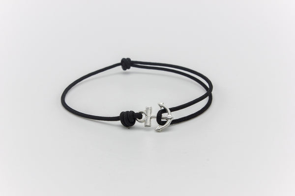 Anchor Teeny Tiny Polyester Bracelet Silver