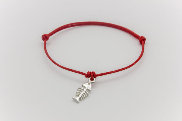 Fish Bone Teeny Tiny Polyester Bracelet Silver