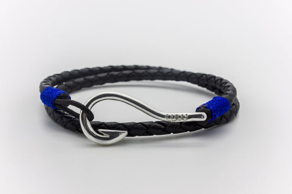 Hook Round Braided Leather Bracelet Silver